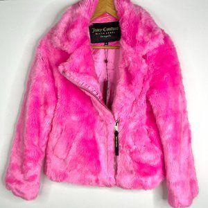 Juicy Couture Black Label Hot Pink Faux Fur Jacket
